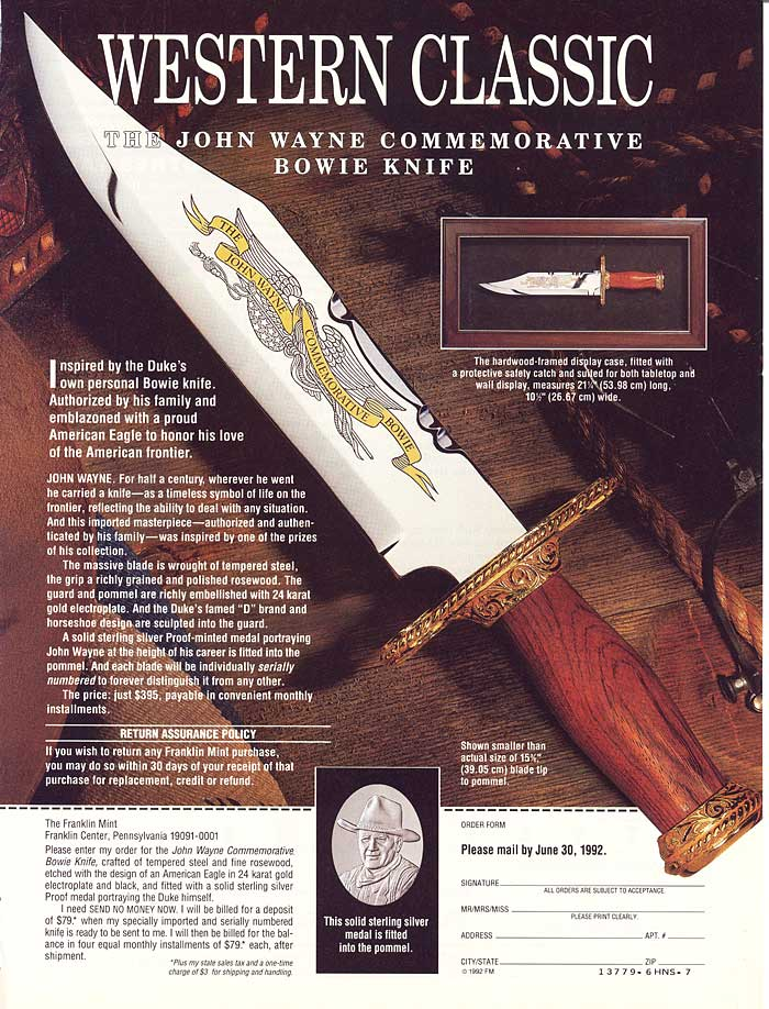 John Wayne Commemorative Bowie Knife Advert