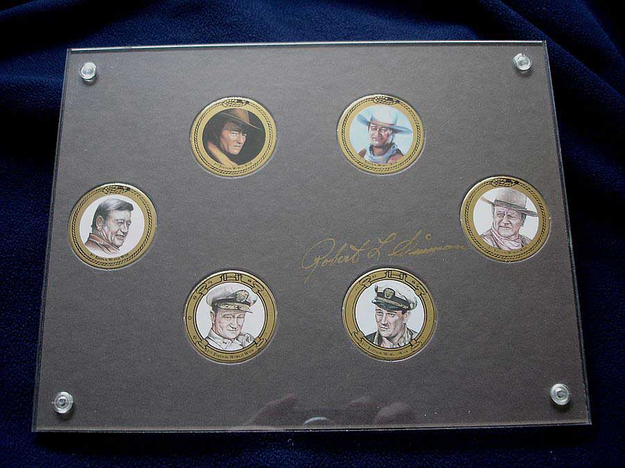 John Wayne mini plates, coins or chips by DuCaps Inc