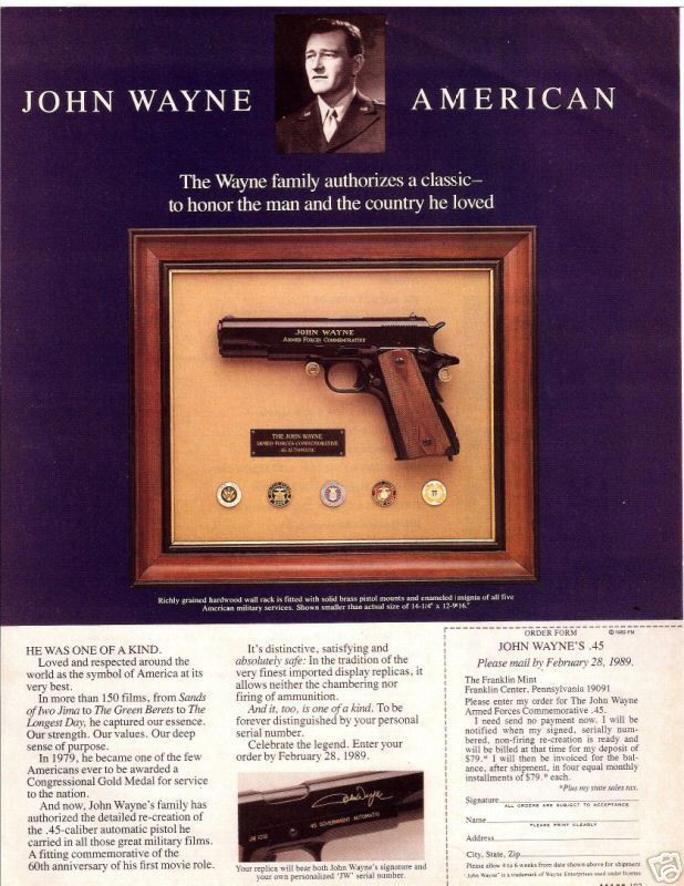 Advert for John Wayne Armed Forces 45 Automatic Commemorative